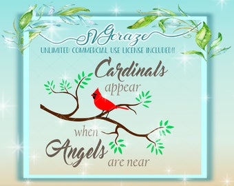 Cardinal Appears When Angels Are Near, Quote SVG, Cardinal Quote, Tree and Cardinal SVG, Cardinal Cut File for Cricut and Silhouette