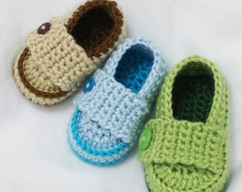 newborn boy Crochet Pattern Loafers for Little PRINCE Loafers - 4 sizes-Newborn to 12 months digital