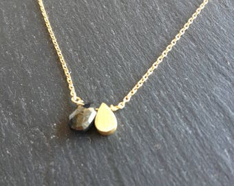 fine necklace 2 drops flat gold and black