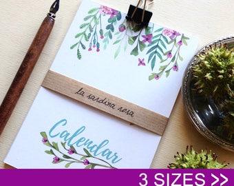 2018 desk calendar, monthly, small floral calendar, 2018 watercolor flowers calendar, mini calendar, new year 2018, christmas gift