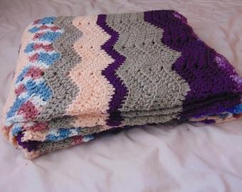 Handmade Purple Rainbow Stripe Chevron Afghan.