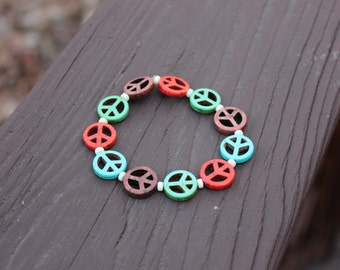 Multi-Colored Turquoise Peace Sign & White Heishi Beaded Bracelet