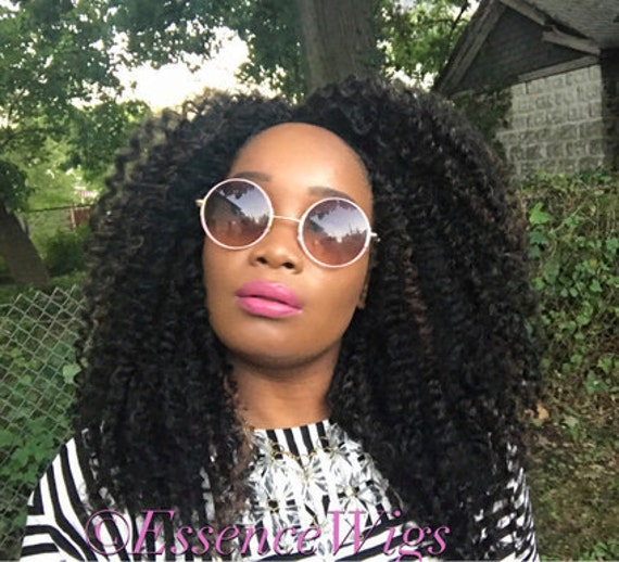 Essence Wigs 'Cinna Spice' Braid Out Wig Full Cap Natural Hair Unit Textured 4a 4B Non lace wig Bantu knot Out