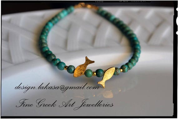 Fish Bracelet Sterling Silver Gold plated Fine Jewelry Blue Beads Pearls Gift Summer Love Birthday Friendship Hapiness Mediterranean Sea