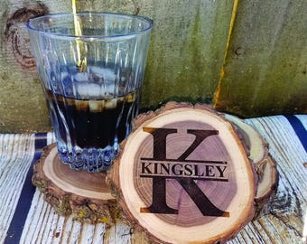 Personalized Coasters, engraved coaster set, monogrammed gift, rustic wood coaster, custom wood coasters, tree slice coasters, gift for him