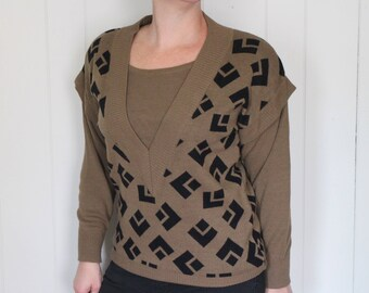 Vintage 1980's New Wave Sweater - Brown - Geometric - Hipster - Medium - by Donna Toran