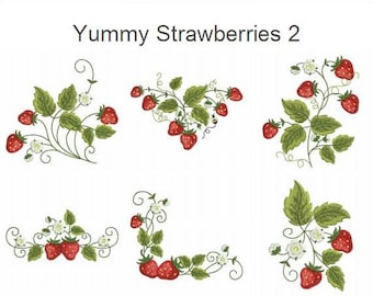 Yummy Strawberries 2 Fruit Food Kitchen Machine Embroidery Designs Pack Instant Download 4x4 hoop 10 designs APE1367