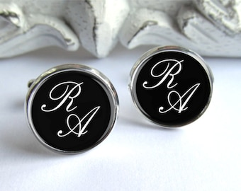 Mens Cuffinks, Groomsman Gift, Personalized Monogram Cufflinks