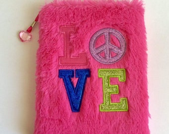 Peace and Love Furry Notebook, Hardback Notebook, Lined Notebook, Soft, Pink Notebook, Cute Notebook, Diary, Journal, Gift for Best Friend