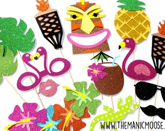 Tiki Photo Booth Props ~ 14 Piece Prop Set ~ GLITTER Photobooth Props ~ Props Come Fully Assembled