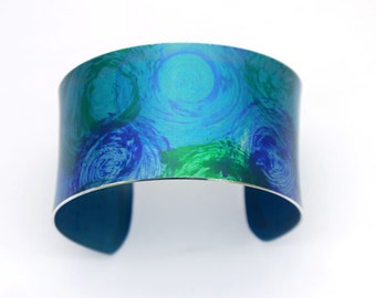 Turquoise, blue and green swirl cuff