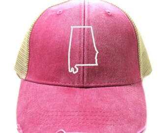 Alabama Hat - Distressed Snapback Trucker Hat - Alabama State Outline - Many Colors Available