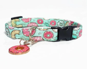 "Cat Collar Breakaway - ""Donut 2.0"" -  Safety Cat Collar - Doughut/Mint - Soft Cotton Fabric Collar - Cute Fun Cat Collars - Safe/Durable"