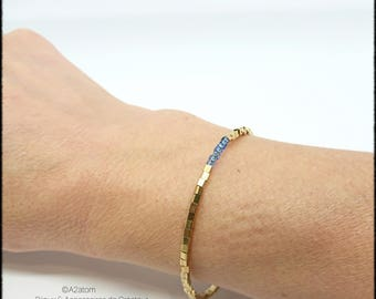 Bracelet woman mminimaliste cubes of brass and blue - trendy spring 2018 collection