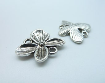 15pcs 20x20mm Antique Silver Butterfly Flower Bow Connector Link Charm Pendant B397