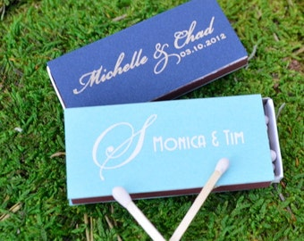 50 Personalized Wedding Matches, Custom Printed Matchboxes, Personalized Wedding Favors, Custom Reception Bar Matches