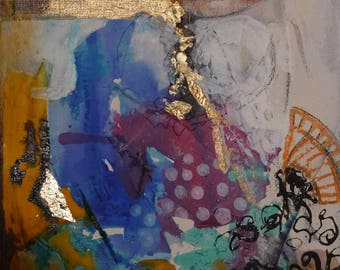 """Acrylic painting, painting, Contemporary Art, Original, abstract painting, mixed media mini painting: """"happiness"""""""