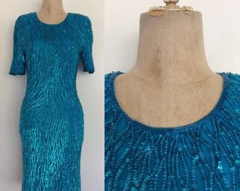 1980's Turquoise Sequin Evening Wiggle Dress Size XS Small by Maeberry Vintage