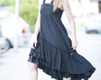 Plus Size Maxi Dress, Extravagant Long Dress With Suspenders, Daywear Dress, Black Cotton Viskosa  Dress, Cotton Maxi Top by EUG - DR0253CV