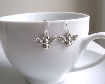 Petite Silver Bee charm earrings - little bees - gift for gardener - nickel free