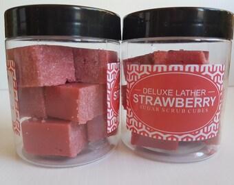 Strawberry sugar scrub cubes. Exfoliating scrub. Vegan scrub. Gift for her.