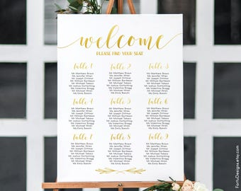 Gold seating chart Gold reception sign Gold seating plan Seating chart gold Wedding chart Gold guest list Reception chart Seating printable
