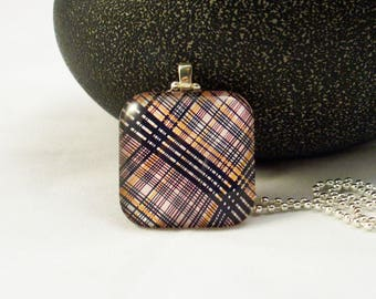 Pink Blue Yellow Plaid Glass Pendant Necklace