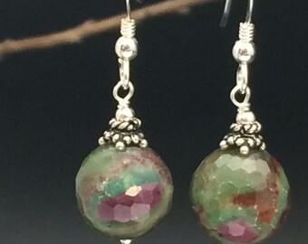 Ruby in Fuchsite Earrings, Gemstone Earrings, Green Stone Earrings, Earrings under 50, Gifts under 50, Angel Wear Designs