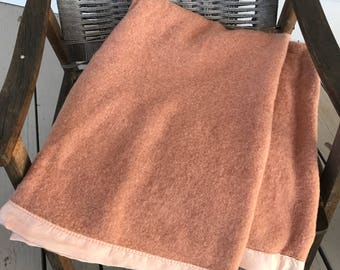 Vintage Chatham wool/cotton blanket in rose