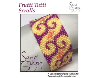Peyote Pattern - Frutti Tutti Scrolls Peyote Cuff / Bracelet  - A Sand Fibers For Personal and Commercial Use PDF Pattern