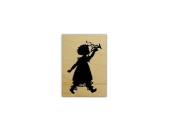 Girl with Horn silhouette small, mounted rubber stamp, parade, Christmas, marching band, music, Sweet Grass Stamps No.1