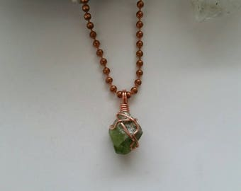 Destiny - Peridot Necklace, Crystal Healing, Copper Jewelry, Wire Wrapped Peridot Pendant, Peridot Charm, August Birthstone