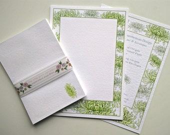 Writing Paper and Envelopes Set, Green Chrysanthemum Design