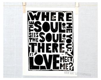 LOVE, Wedding, Anniversary, Soul, Wall Decor, Romantic Saying, Engagement, Bedroom Art, Black and White Art, Friendship, True Love, Etsy art