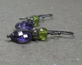 Amethyst, Peridot Earrings Oxidized Sterling Silver February, August Birthstone Earrings Gift for Her Gemstone Stack