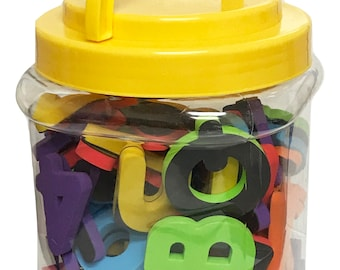 Magnetic Foam Letters and Numbers Premium Quality ABC, 93 Foam Alphabet Magnets | Preschool Learning, Spelling, Counting in Canister