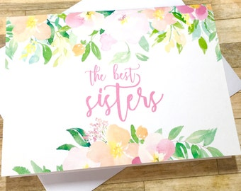 Pregnancy Announcement Card - Pregnancy Reveal to Sister - The best sisters get Promoted to Auntie - new aunt new baby - SPRING BLOSSOM
