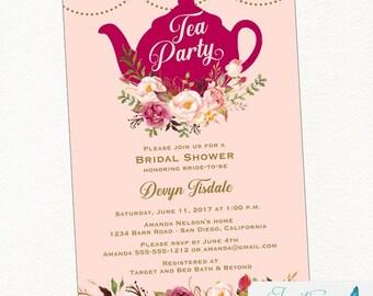 Pink Blush Tea Party Bridal Shower Invitation | Tea Party Invitation, Bridal Tea Party, Tea Party Invite, Pink, Blush, Gold, blush flowers
