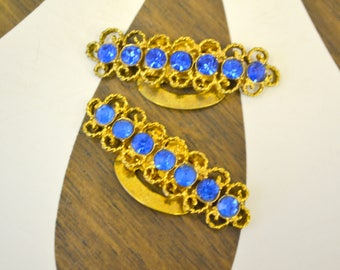 1950s Blue Rhinestone Shoe Clips