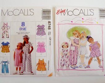 Lot 2 Girl's Summer Sewing Patterns, Dresses, Jumpsuits, Rompers McCall's 8748, 7075 (AS IS) Child Sizes 4 5 6