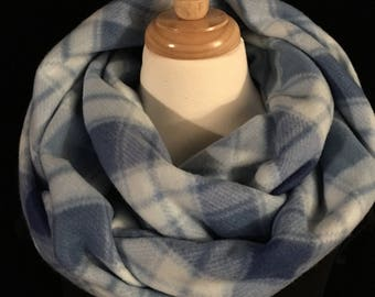 Blue Plaid Scarf, Gift for Her, Scarves for Women, Infinity Scarves,Knit Scarf, Plaid Scarf, Warm Scarf, Christmas Gift