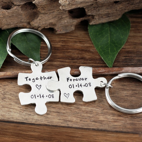 Together Forever Keychain Set of Two, Couples Keychains, Personalized Puzzle Piece Keychain Set, His and Hers Keychains, Anniversary Gift