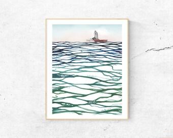 A see of paper | original watercolor