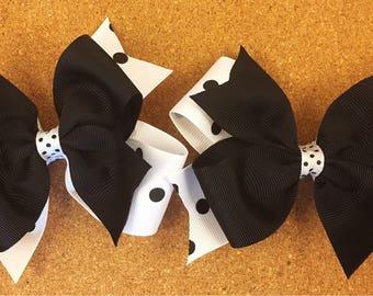 Black and white hair bows / fall hair bows / halloween hair bows / pig set hair bows / 4 inch hair bows