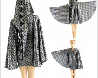 Silver Dragon Dress with Fan Sleeves and Long Pointy Spiked Hood  1052793