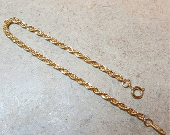 1980's Gold Tone Rope Bracelet
