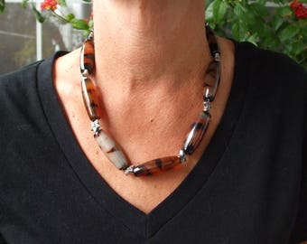 Tiger glass beads, pewter stars, pewter beads, oblong glass, brown and black, unique necklace, animal pattern, star faces