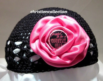 Black and Pink Girl Hat Beanie, Winter, Beanie, Country Girl, Skull Cap, Toddler Hat, Baby Hat, Baby Beanie, Toddler Beanie, Crochet Beanie