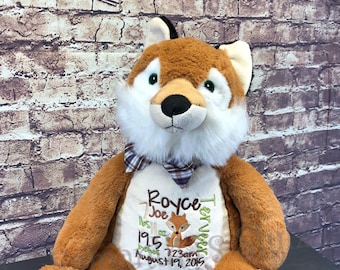 Personalized stuffed Fox, Personalized baby gift, Keepsake, Subway Art, Stuffed Animal, Adoption Gift, Birth Announcement, Fox Gift