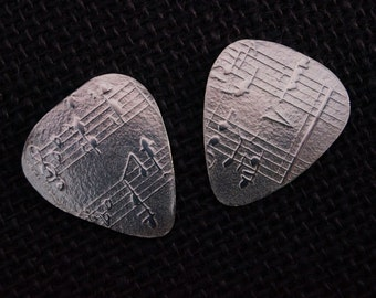 Embossed Sterling Silver Guitar Pick - Music Teacher gift - Sterling Silver Guitar Pick Necklace - Silver Guitar Pick Key chain Keychain